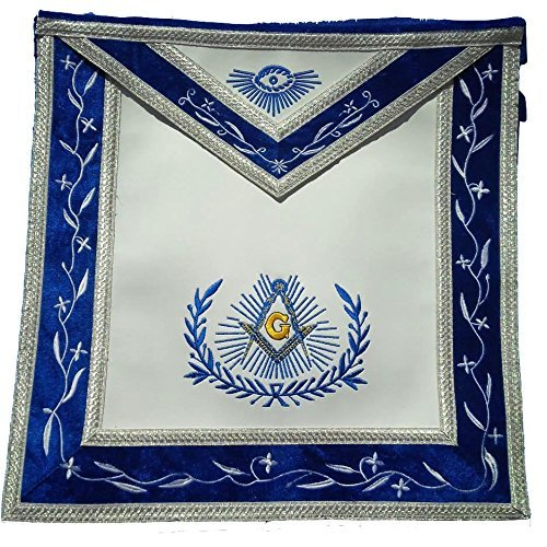 Masonry Master Mason Apron Genuine White leather Body by Equinox Masonic Regalia by Equinox MR