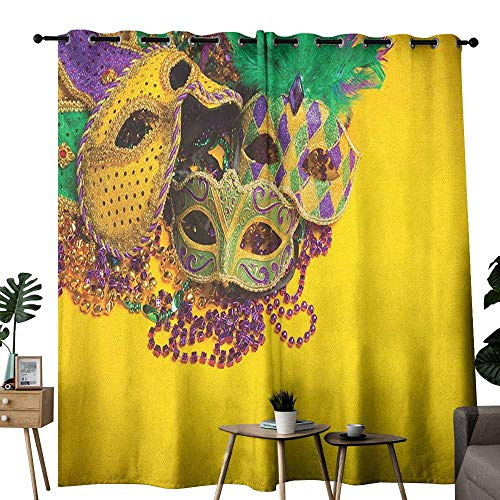 duommhome Mardi Gras Light Luxury high-end Curtains Festive and Colorful Group of Venetian Carnival Masks and Accessories Suitable for Bedroom Living Room Study, etc.W120 x L96 Yellow Purple Green