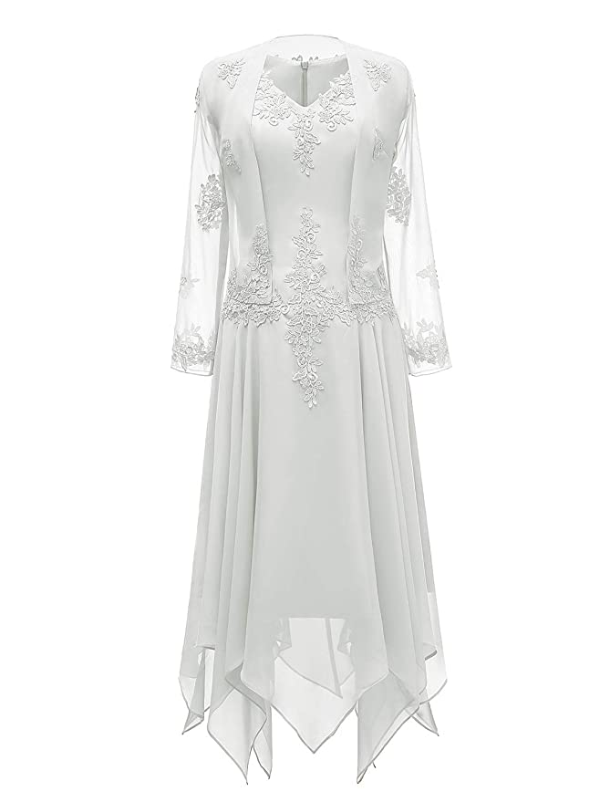 1920s Wedding Dresses- Art Deco Wedding Dress, Gatsby Wedding Dress tutu.vivi V-Neck Chiffon Tea Length Mother of The Bride Dress Long Sleeves Lace Formal Evening Gowns with Jacket $86.99 AT vintagedancer.com