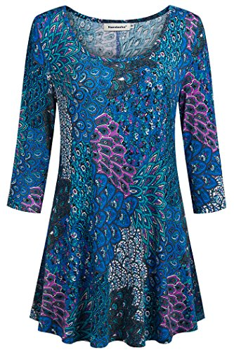 Nandashe Women Scoop Neck Shirts, Misses Crew Neck Oversized National Retro Comfy Rayon Peacock Print Graphic Boutique Business Dress Shirts for Work Plus Activewear Clothing Blue Green Size 14 2X