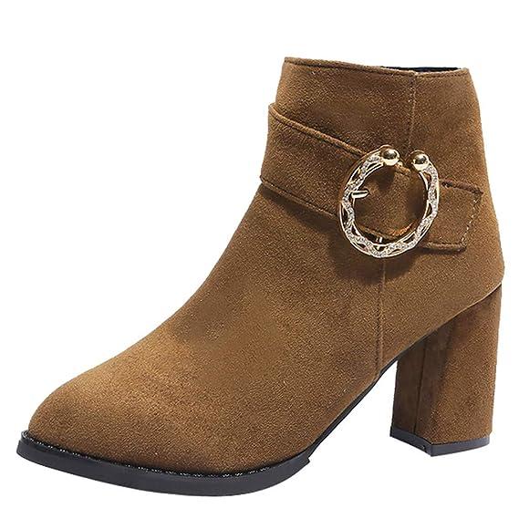 Longra❤ ❤ Botines de Mujer, Botas de Gamuza de tacón Alto en Color Liso con Cremallera y Zapatos cálidos: Amazon.es: Ropa y accesorios