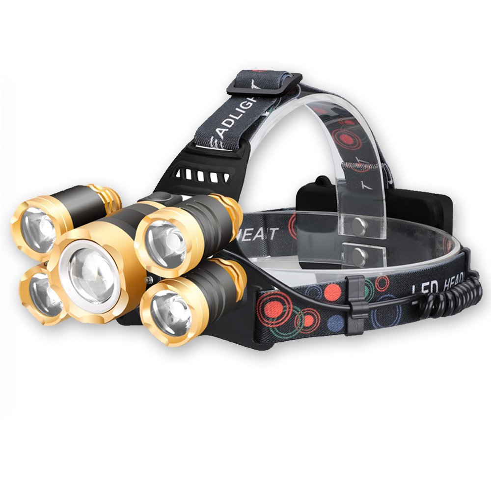 Headlamp,Rechargeable LED headlamp, Super Bright 5 LED Headlight Zoomable Waterproof Head Torch Headlight Headlamp Flashlight for Cycling, Running, Camping, Hiking, Fishing, Night Reading,Walking