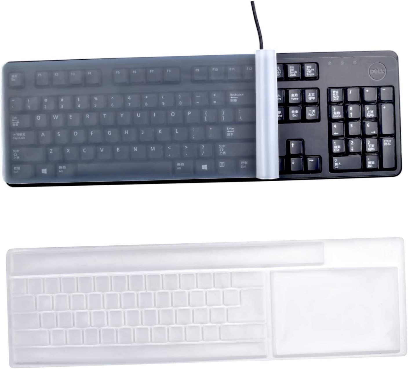 "Keyboard Protection Cover, 2 Pieces Anti-Dust Silicone Keyboard Protector Waterproof Clear Keyboard Skin Cover for Standard Size PC Computer Desktop Keyboards - Size : 17.6"" x 5.5"""