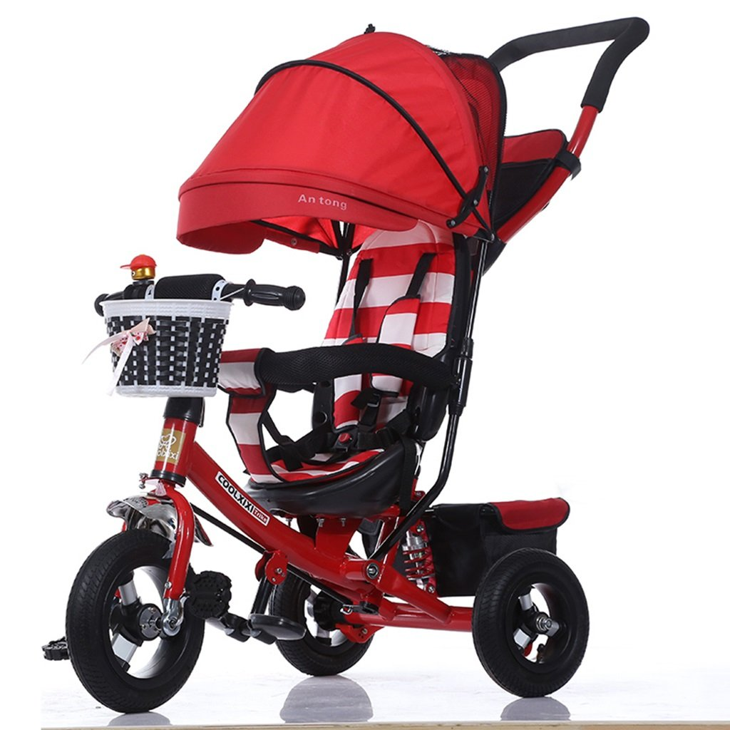 HAIZHEN マウンテンバイク 子供の三輪車調整オーニング折り畳み式ショックアブソーバー発泡ホイール自転車1-5歳では安全ベルトダブルバスケットベビーカーでプッシュロッド 新生児 B07DL7XDCX 3 3
