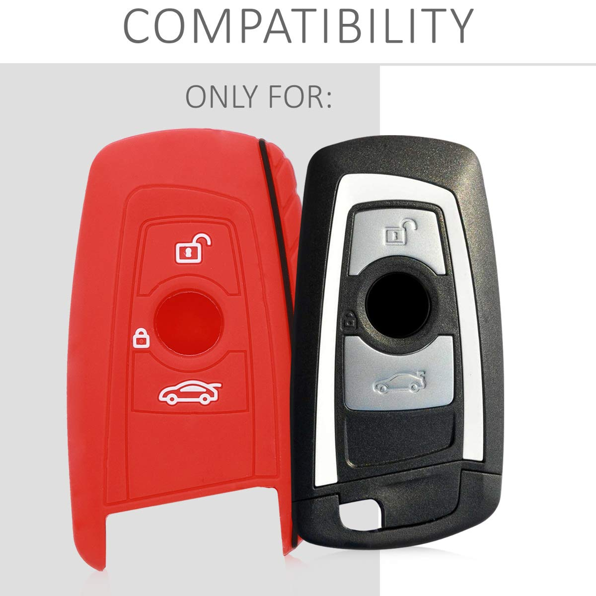 - White//Black//Red only Keyless Go kwmobile Car Key Cover for BMW Silicone Protective Key Fob Cover for BMW 3 Button Remote Control Car Key