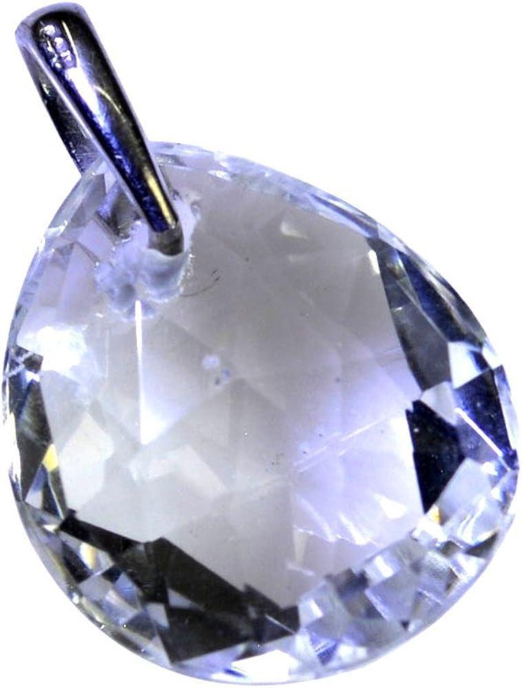 Colgante de cristal natural de cuarzo de plata de ley para mujer pera Gemstone collar hecho a mano joyería