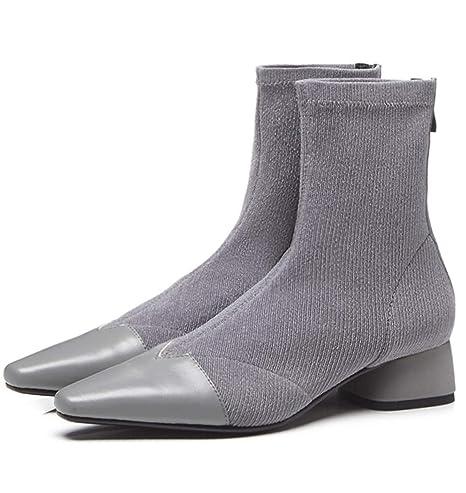 HHXWU Zapatos Botines Mujer Cuero pequeña Cabeza Cuadrada Botas Mujer Tubo bajo, Gris, 37