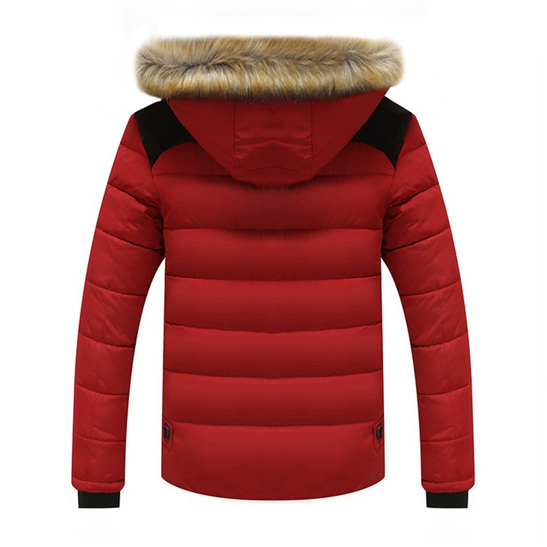 Cozy Age Mens Fasion Winter Jacket Thickened Front Zipper Down Padded Jacket  With Big Fur Collar: Amazon.ca: Clothing & Accessories