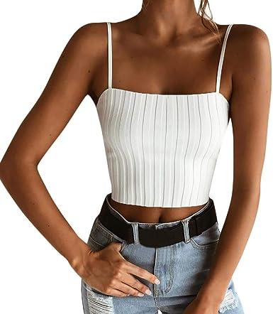 Proumy Camiseta de Tirantes Mujer Camisola Apretada Chaleco Sólido Blusa Elástica Camisa Corta sin Mangas Vestido Elegante Tops de Cuello Redondo de Talla Grande Traje Cómodo Nuevo 2019: Amazon.es: Ropa y accesorios