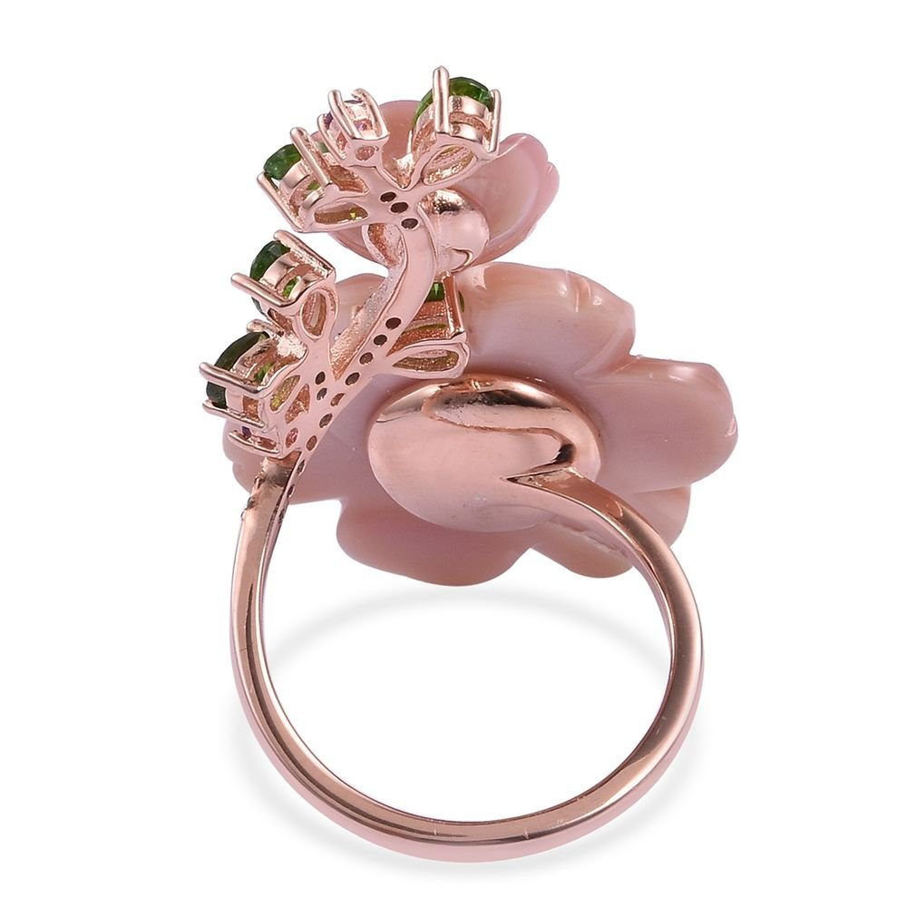 TJC Mother of Pink Pearl Floral Ring for Women In Rose Gold Plated ...