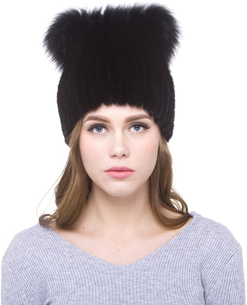 Needle Button Natural Raccoon Fluffy Real Fur Big Ball Pom Pom Caps Accessories for Skullies Knitted Hat