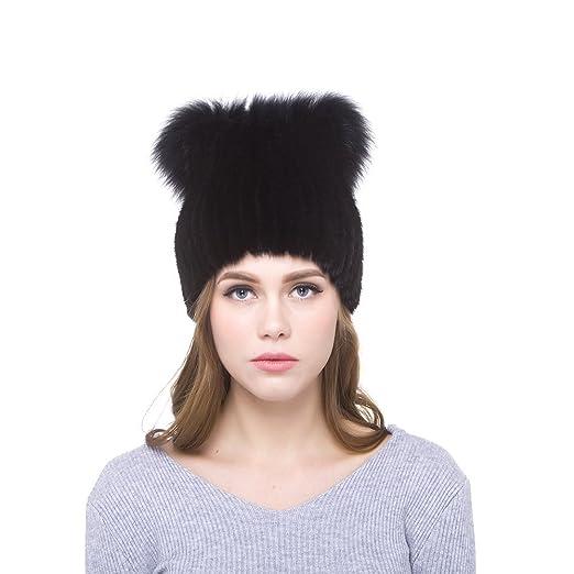 d3b74738670 JKP Women Warm Hat Knitted Real Mink Fur Hats Fox Fur Pompoms Beanies Hats  Skull Caps