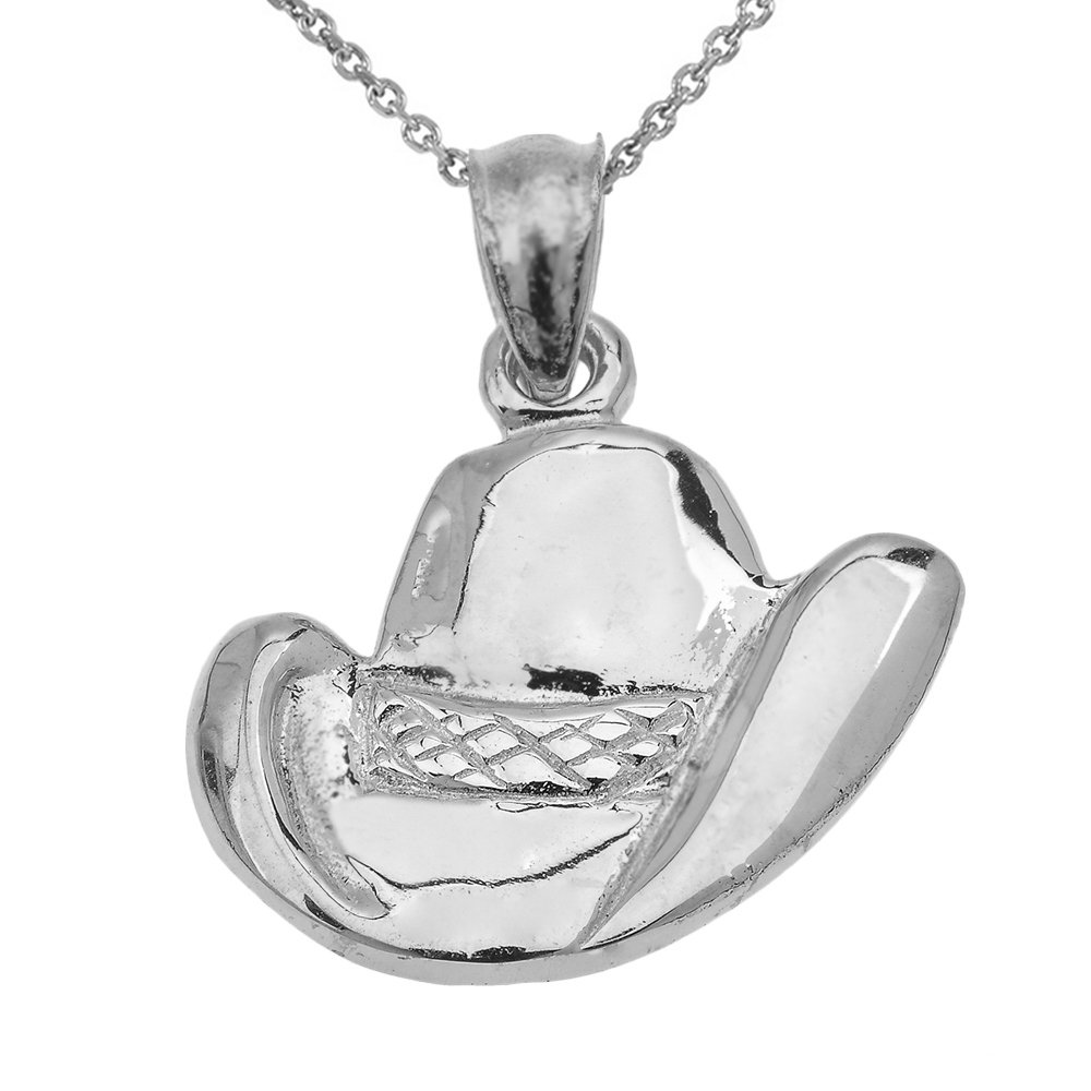 Weight JewelryDepotUSA Cowboy Hat Necklace 10k White Gold 19mm x 23mm 3.0 Grams