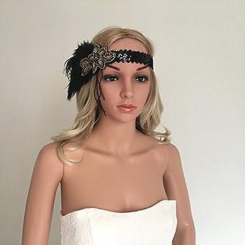 MagiDeal Fascia Per Capelli Con Piuma Stile Anni 20 Gatsby Con Strass Perla  Headband Charleston Da Sposa Festa Cosplay Costumi c6454bad91aa