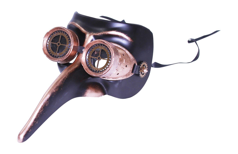 KAYSO INC The Professor III Steampunk Long Nose Venetian Masquerade Mask (Rustic Bronze)