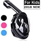 TriMagic Snorkel Mask, Kids and Adult 180° Panoramic Full Face Design with Larger Viewing Area - Easier Breathing,with Anti-Fog and Anti-Leak