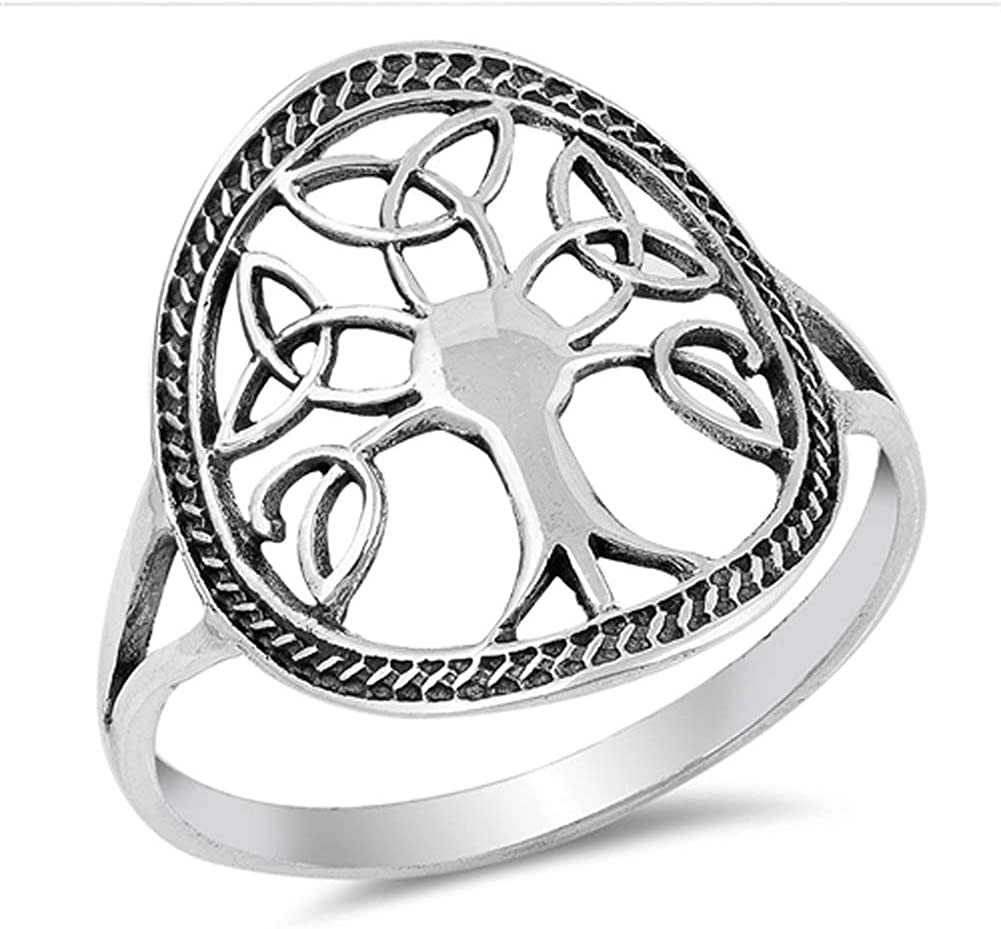 Antiqued Celtic Tree of Life Knot Filigree Ring Sterling Silver Band Sizes 5-10