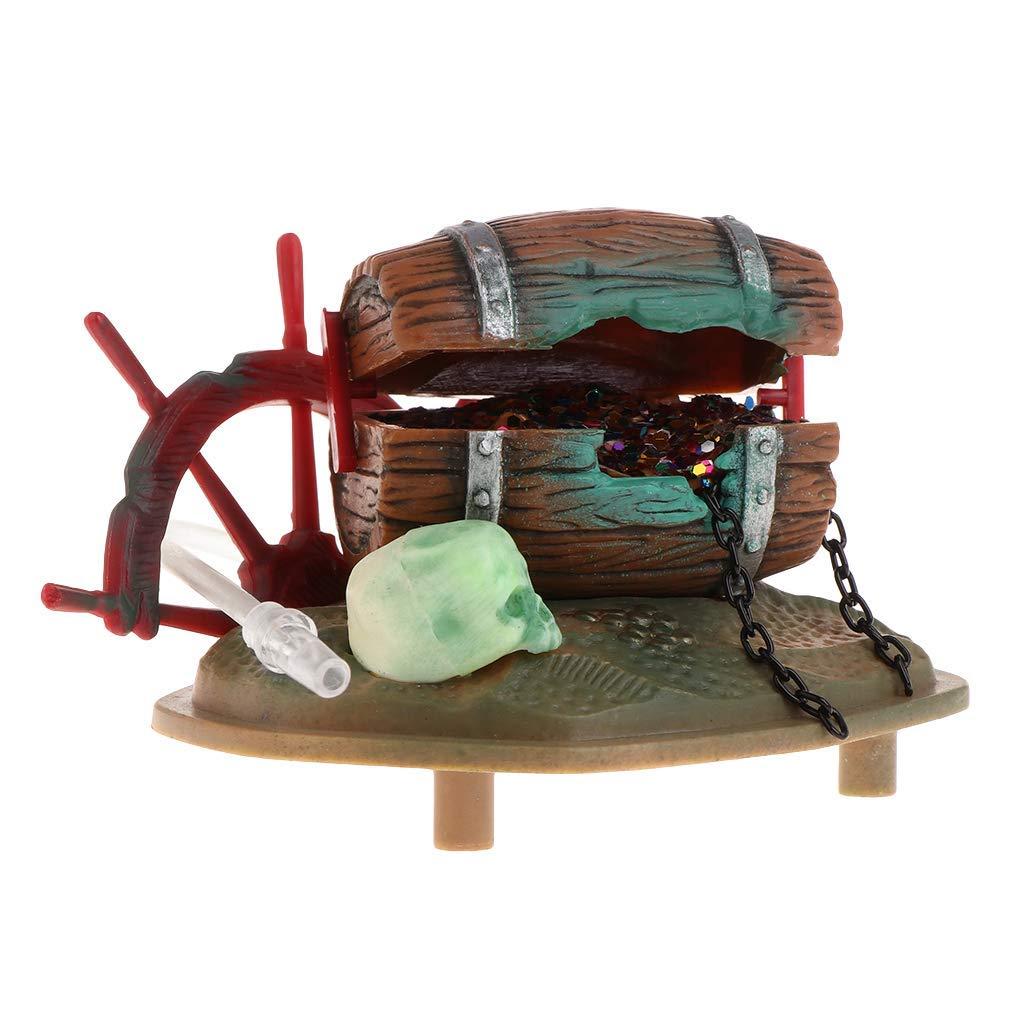 Ogquaton /Acuario Caja de Caja de Tesoro con Burbujas de Aire Simulaci/ón Realista Decoraci/ón de Tanque de Peces Conductor de Aire Decoraci/ón subacu/ática