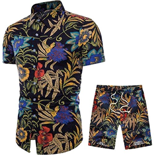 CBTLVSN Mens Casual Floral Button Down Shirt and Shorts 2 Piece Set Outfits 6 L