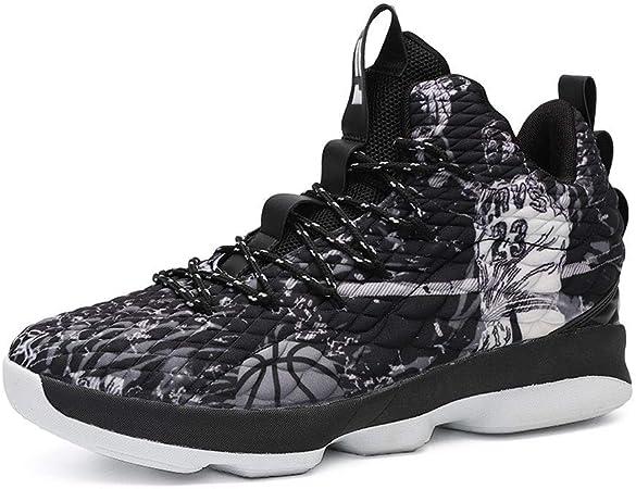 Zapatillas de Baloncesto para Hombres, amortiguación de Rendimiento Botas de Baloncesto Entrenador Zapatillas de Deporte cómodas Transpirables para Correr al Aire Libre Mens Basketball Shoes,Negro,39: Amazon.es: Hogar