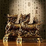 Feng Shui Set of Two Golden Brass Chi Lin/Kylin Wealth Prosperity Statue + Set of 10 Lucky Charm Ancient Coins on Red String , Home Decoration Attract Wealth and Good Luck
