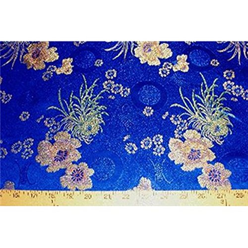 Chinese Faux Silk Floral Medallion Brocade Satin Fabric Sold By The Yard (Royal Blue)