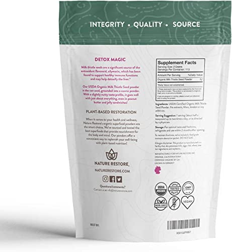 USDA Certified Organic Milk Thistle Seed Powder, 8 Ounces, Non GMO, Gluten Free, Packaged in California