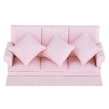 D DOLITY 1/12 Puppenhaus Wohnzimmer Puppenmöbel Miniatur Dreisitzer Sofa  Couch Mit Kissen Modell