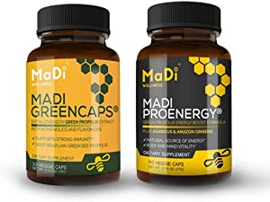 Madi Greencaps & Proenergy (2 Pack). Boost Brain, Body and Immune Function - Brazilian Green Propolis Extract, Amazon Ginseng Extract, Agaricus Mushroom Extract - 1 Month Supply