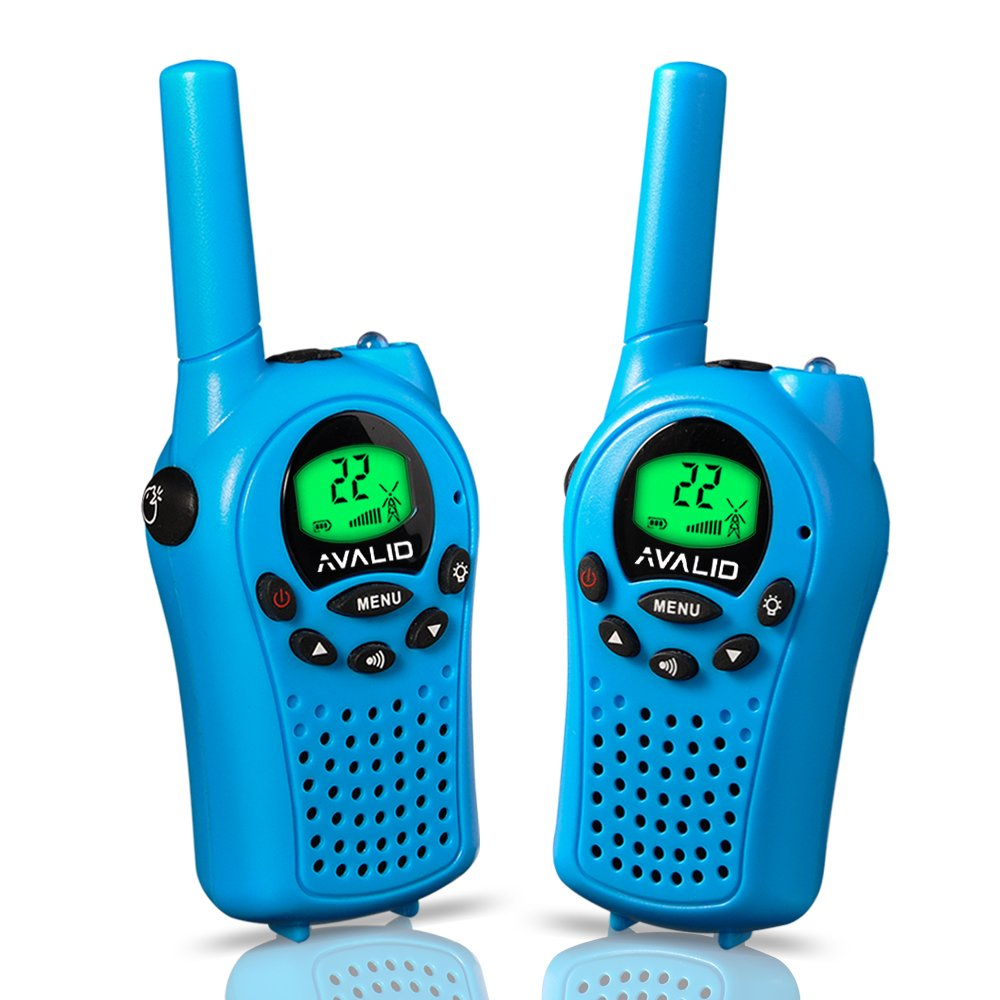 AVALID Walkie Talkies for kids, 22 Channel FRS/GMRS Long Range 5KM Two-Way Radios with Free Straps, Ultra-Long Standby/Back-lit LCD Screen Radio Walkie for Indoor/Outdoor Activities (Pair,blue)