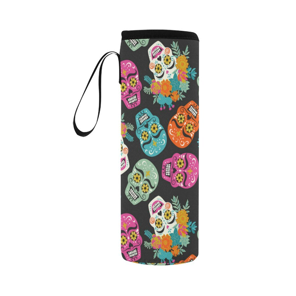 InterestPrint Day of the Dead Neoprene Water Bottle Sleeve Insulated Holder Bag 16.90oz-21.12oz, Sugar Skull Floral Sport Outdoor Protable Cooler Carrier Case Pouch Cover with Handle