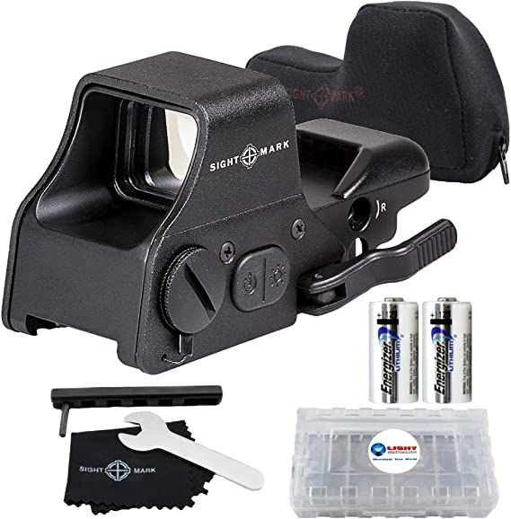 Sightmark Ultra Shot Plus QD Reflex Sight Red and Green Reticle Bundle with 2 Extra Energizer CR123 Batteries and a Lightjunction Battery Case