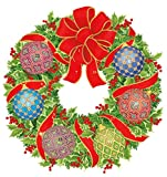 Entertaining with Caspari ADV258 Imperial Ornament Wreath Die Cut Calendar, Red