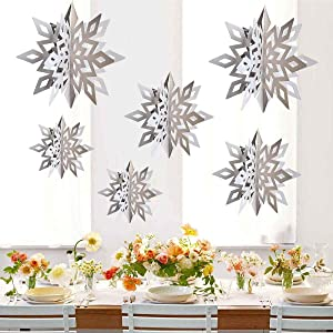 CNUSER Winter Wonderland Snowflakes Party Decorations 3D Card Hanging Paper Centerpieces for/Birthday/Christmastree/New Year/Baby Shower/Wedding Party/Shopwindow Supplies (Pearl White)