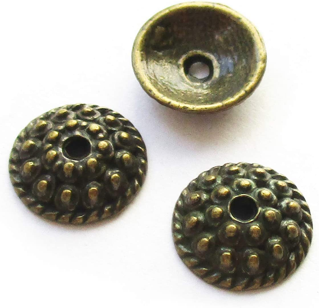 Fit 12mm 14mm Round Beads Heathers cf 50 pcs Big Silver Tone Bead Caps for Jewelry Making