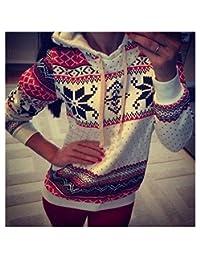 Winter Christmas Womens Hoodies Sweatshirt Jumper Tops Sweater Hooded Pullover Size