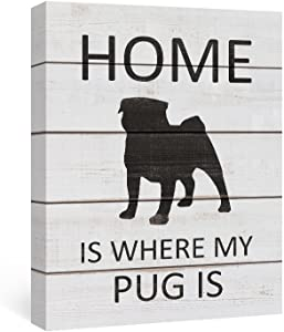 SUMGAR Canvas Wall Art Dorm Decor Black and White Animal Pictures Modern Dog Framed Paintings Grey Puppy Prints Gray Quotes Sayings Artwork Front Door Home Decorations Pug Gifts