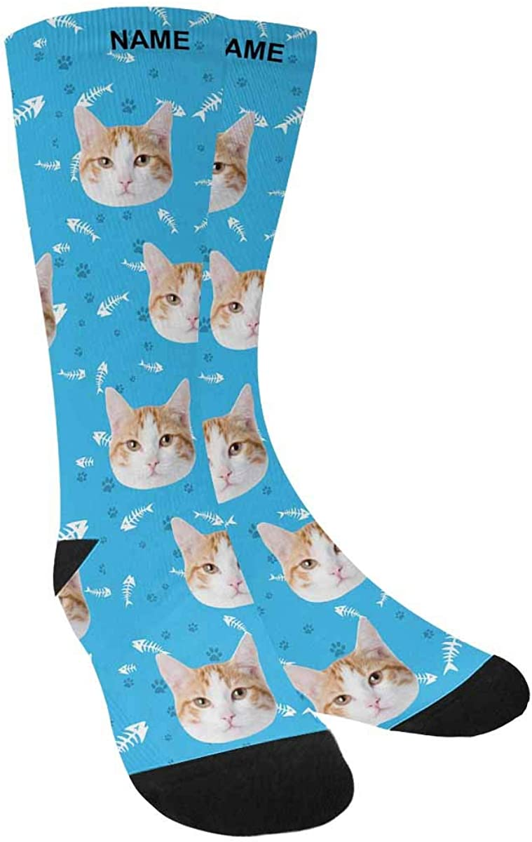 Turn Your Face into Socks Cat Pet Face Your Text with Paw and Bones Custom Photo Sock for Men Women