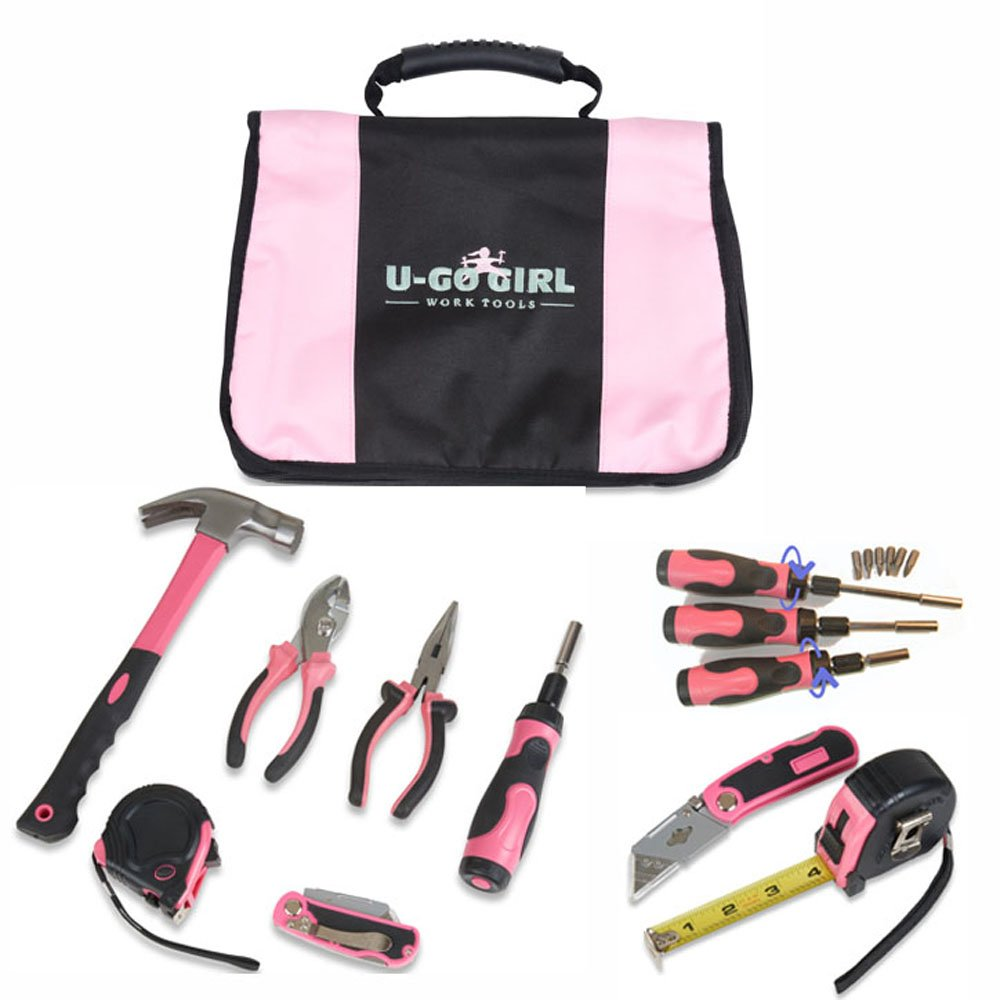 U-GoGirl Work Tools, Household Pink Tool Kit with a Balanced Fit for Woman's Hands. As tough as men's tools...for Lady DIYer's and Handywomen.