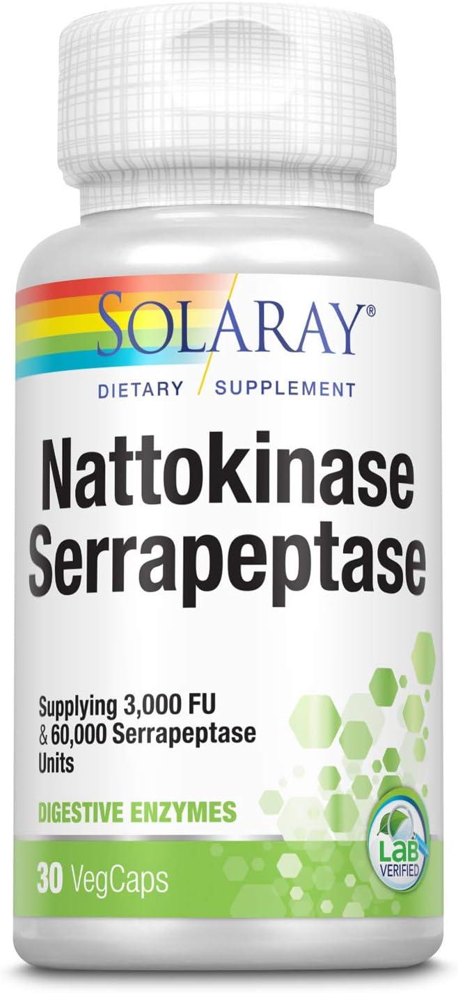 Solaray Nattokinase & Serrapeptase Supplement | 3,000 FU | Healthy Circulation, Blood Flow Support | 30 VegCaps