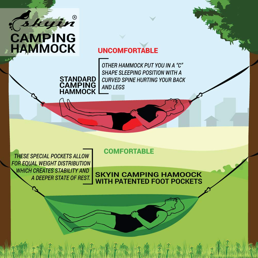 Camping Hammock,Totally Different Hammock.You Will NOT Sleep in a C-Shape Curve.Lightweight,Portable,Single and Double Use,Indoors/Outdoor & Backyard (Gray)