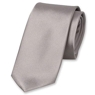 Accessoirespezialist.de Corbata fina de alta calidad gris claro ...