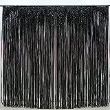 2 Pack Black Foil Fringe Curtain Decoration - Metallic | Wedding | Hen Party Bachelorette | Decoration | Photo Booth Backdrop | Wall Cover Idea (black)