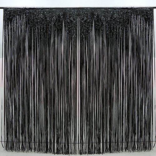 2 Pack Black Foil Fringe Curtain Decoration - Metallic | Wedding | Hen Party Bachelorette | Decoration | Photo Booth Backdrop | Wall Cover Idea (black) -
