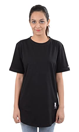 31db43ea8e7 POPKORNERY Women's Oversized T-Shirt (BLK&WYT TALL ZIPPER TEE BLK_W, Black,  ...