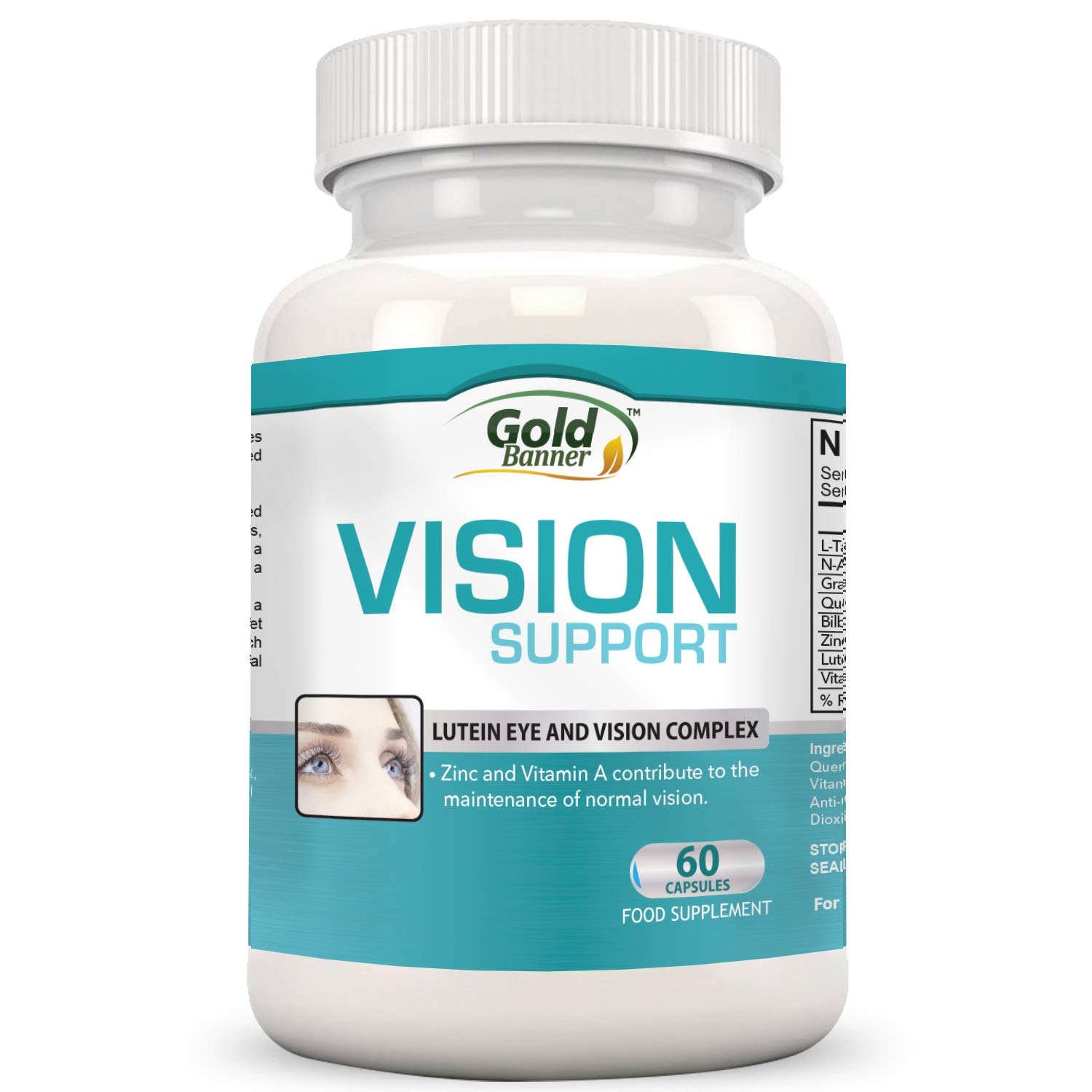 Advanced Vision Support - Lutein Eye & Vision Complex with Lutein,  Bilberry, Zinc, Grapeseed & Essential