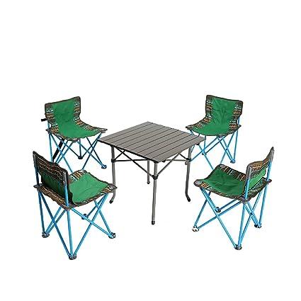 KOKR Mesa de Camping con 4 sillas Plegables, para Comer al ...