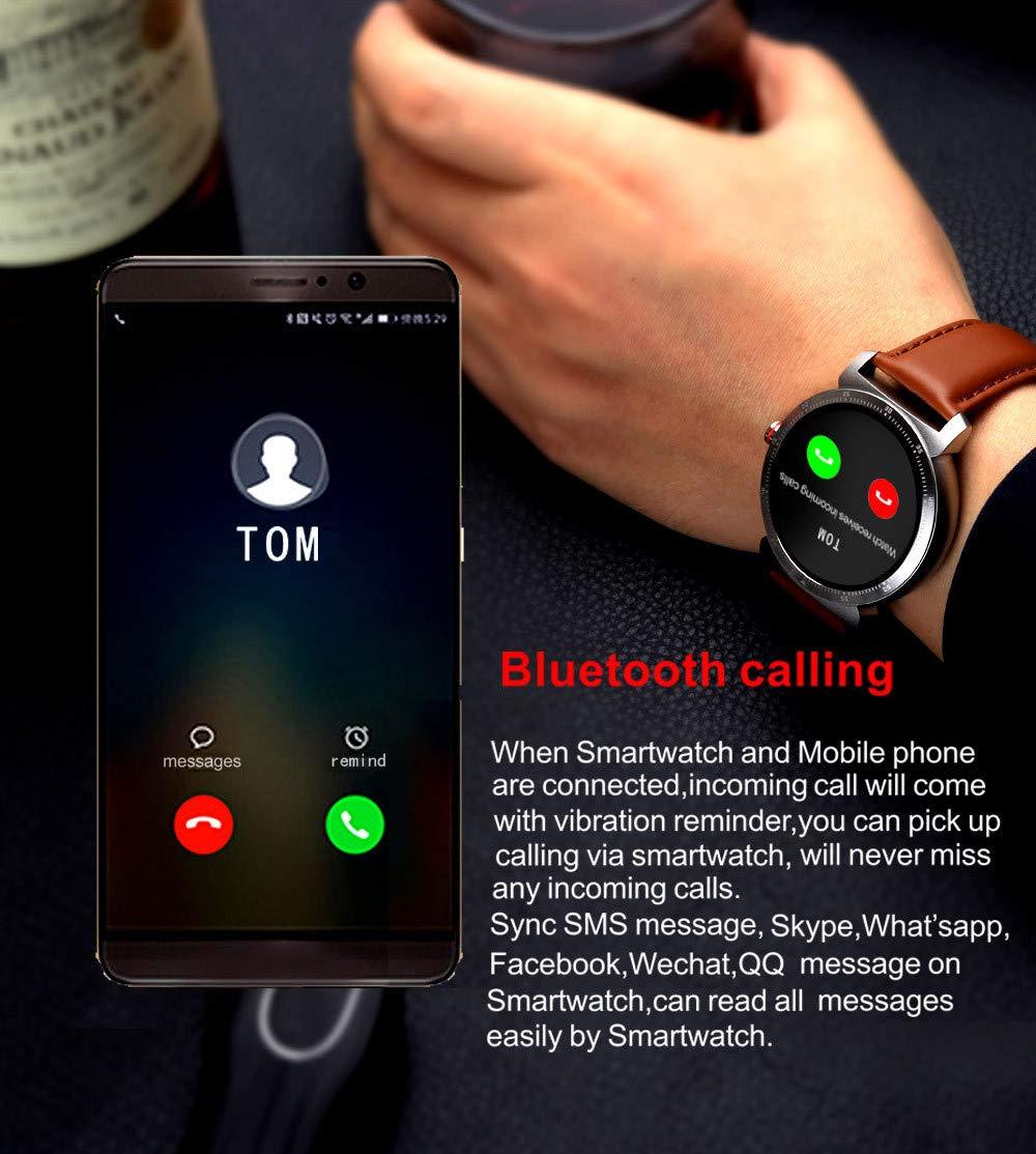 RanGuo Reloj Inteligente para Hombres Mujeres y niños, Deportes al Aire Libre Impermeable Smart Watch para Sistema Android y iOS, Correa de Cuero,La Correa ...