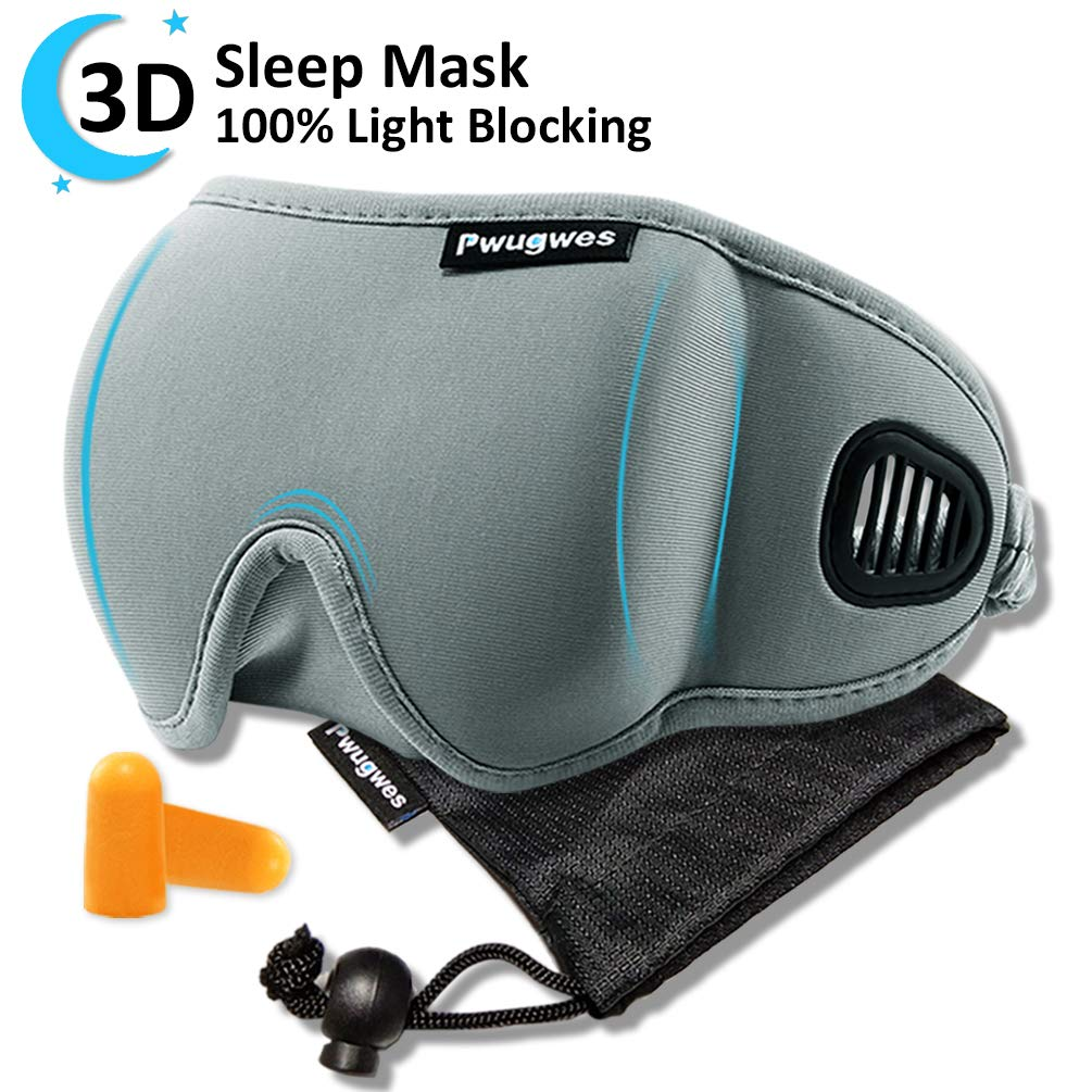Sleep Mask for Men and Women,Adjustable 3D Contoured Sleeping Mask,Unique Air Ventilated Eye Mask,100% Light Blocking Eye Shades Eye Cover,Comfortable for Sleeping,Travel,Nap,Shift Work,Meditation