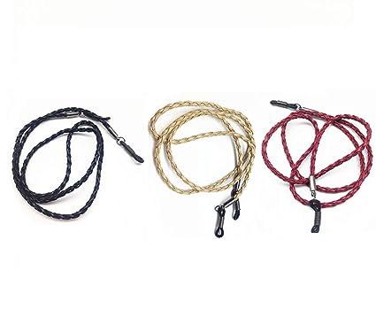 Cadenas para gafas de moda, 3 unidades de piel sintética; soporte para cuerpo de gafas, retenedor de gafas, gafas de sol, cuerda de cordón para cuello